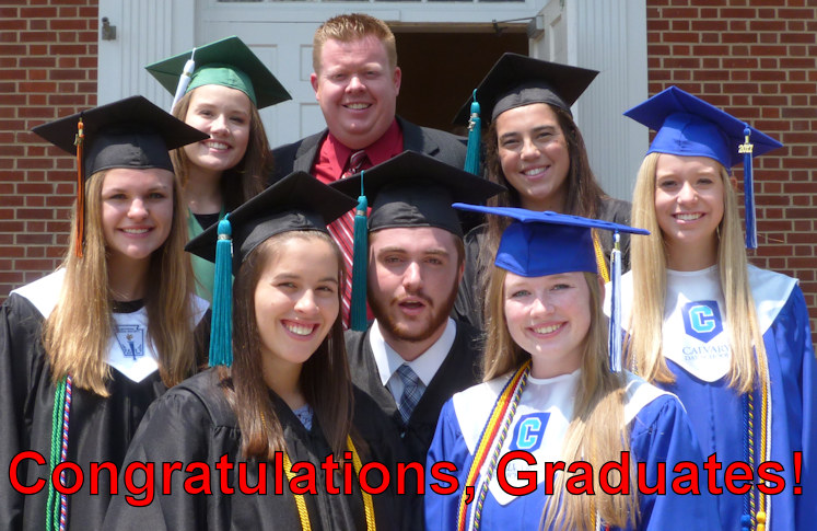 High school graduates, with Associate Pastor of Students and Families Jeff Allen. Click for a video of the Graduate Sunday worship service.